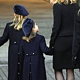 Sarah walked with Beatrice and Eugenie as they arrived for Princess Diana's funeral in 1997.