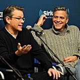 George Clooney and Matt Damon shared a laugh while promoting The Monuments Men at SiriusXM radio in NYC on Wednesday.