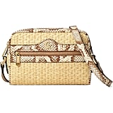 Gucci Ophidia Genuine Snakeskin & Straw Crossbody Bag