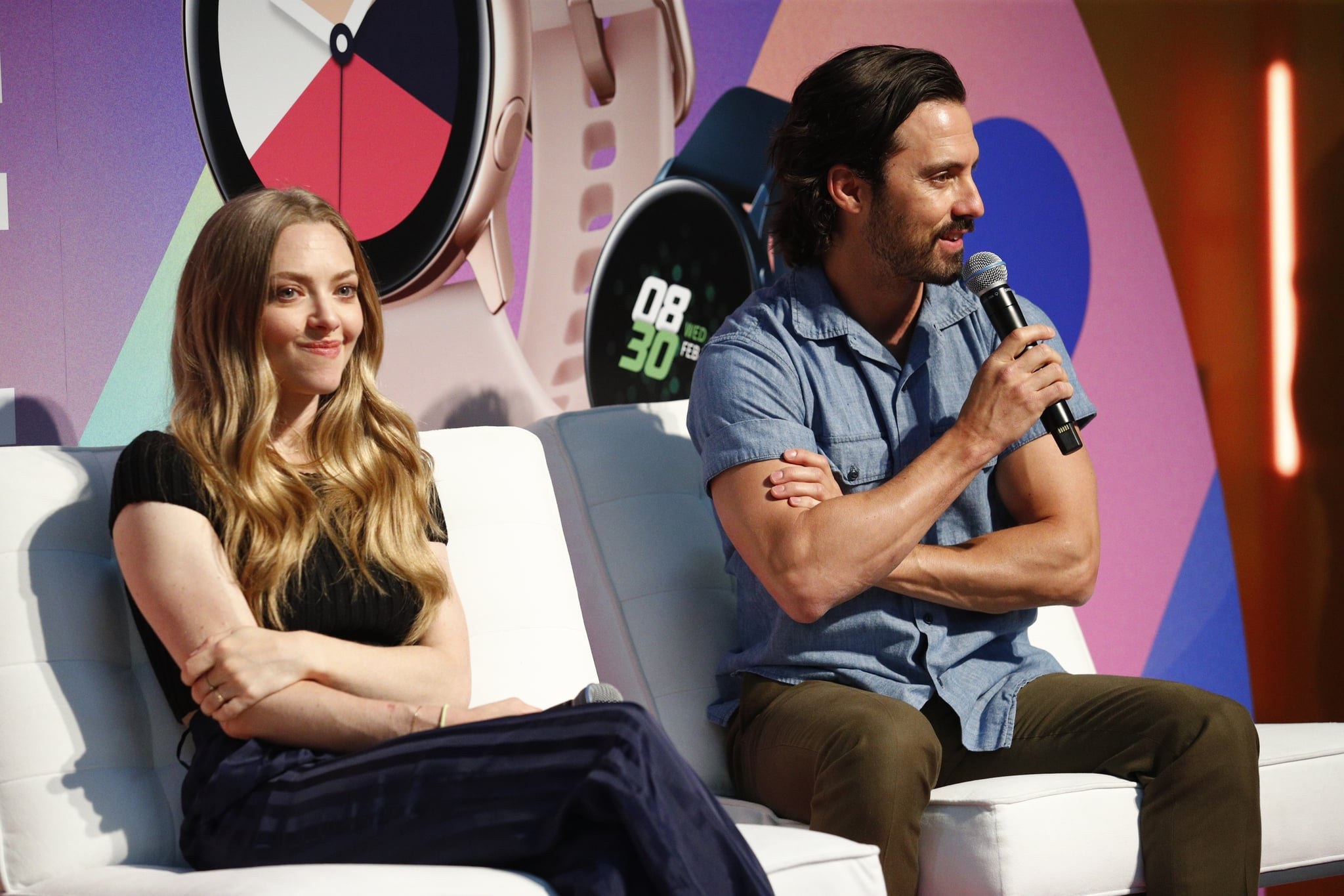 NEW YORK, NEW YORK - JUNE 22: Milo Ventimiglia and Amanda Seyfried  speak on stage during the POPSUGAR Play/ground at Pier 94 on June 22, 2019 in New York City. (Photo by Astrid Stawiarz/Getty Images for POPSUGAR and Reed Exhibitions )