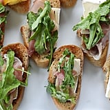 Brie, Fig, and Prosciutto Crostini