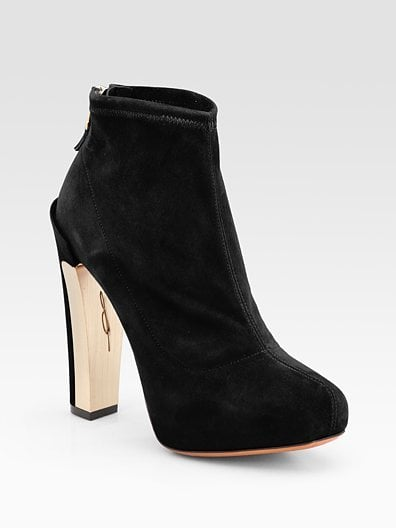 Edeline Black Stretch Suede Ankle Boots ($450)