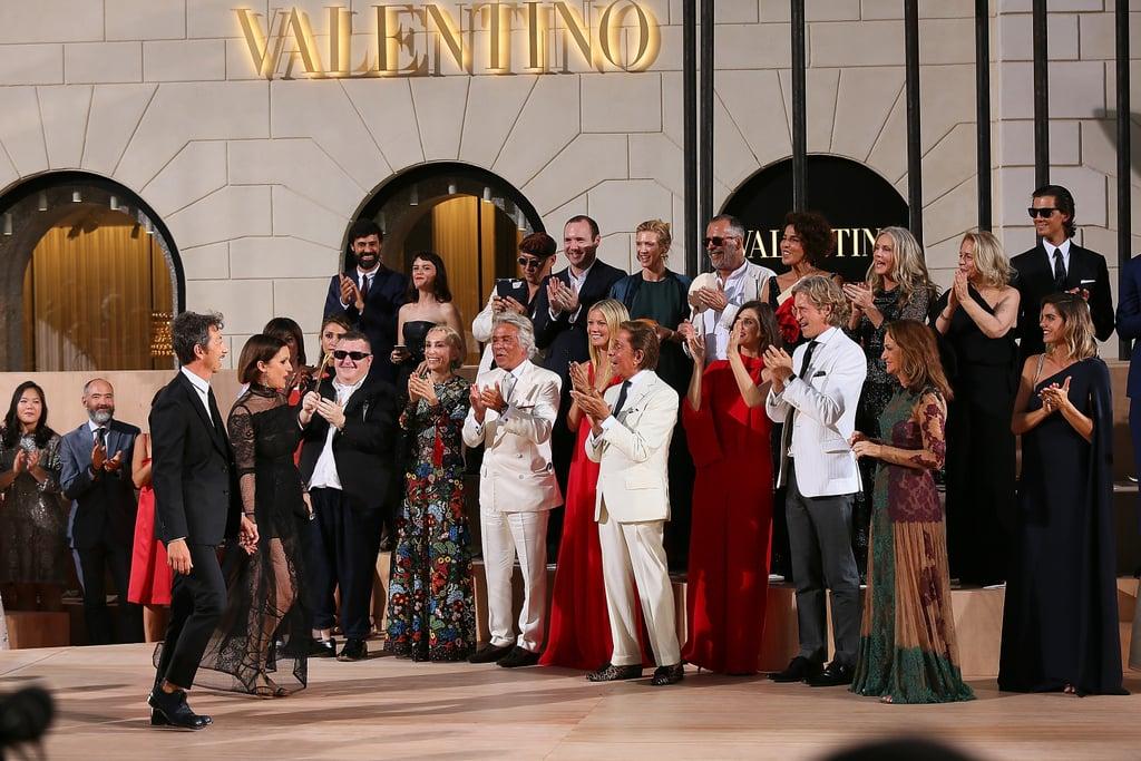 Gwyneth Paltrow and Valentino Garavani, founder of Valentino, congratulated the line's designers, Maria Grazia Chiuri and Pierpaolo Piccioli, after their July couture show in Rome.