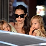 Knox and Vivienne leave bowling alley with Angelina Jolie in Malta.