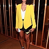 At a May 2012 D'useé Cognac launch party, Solange turned up the cool factor in a yellow Rag & Bone blazer and striped Bottega Veneta sandals.