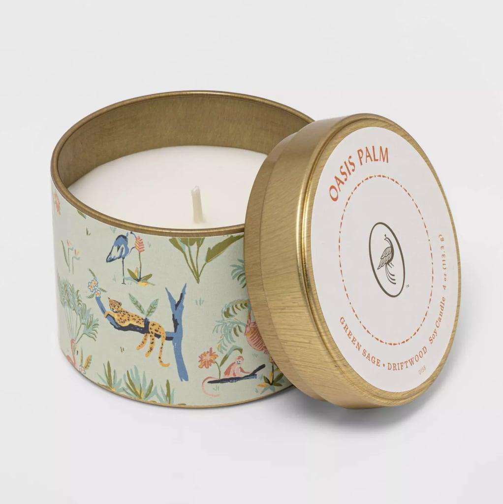 Opalhouse Mini Patterned Tin Oasis Palm Candle