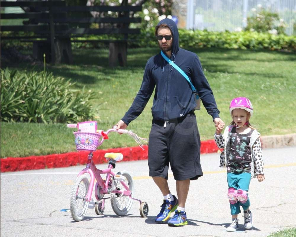 Tobey Maguire and Ruby Maguire took her wheels out for a spin.