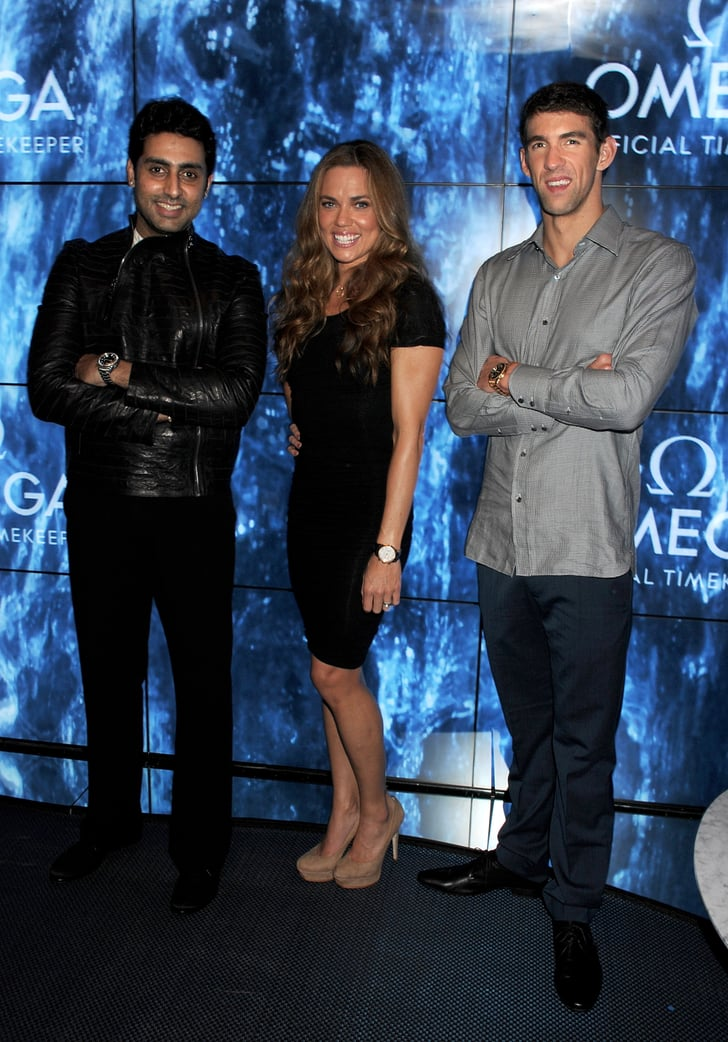 Michael Phelps posed with Natalie Coughlin and Abhishek ...
