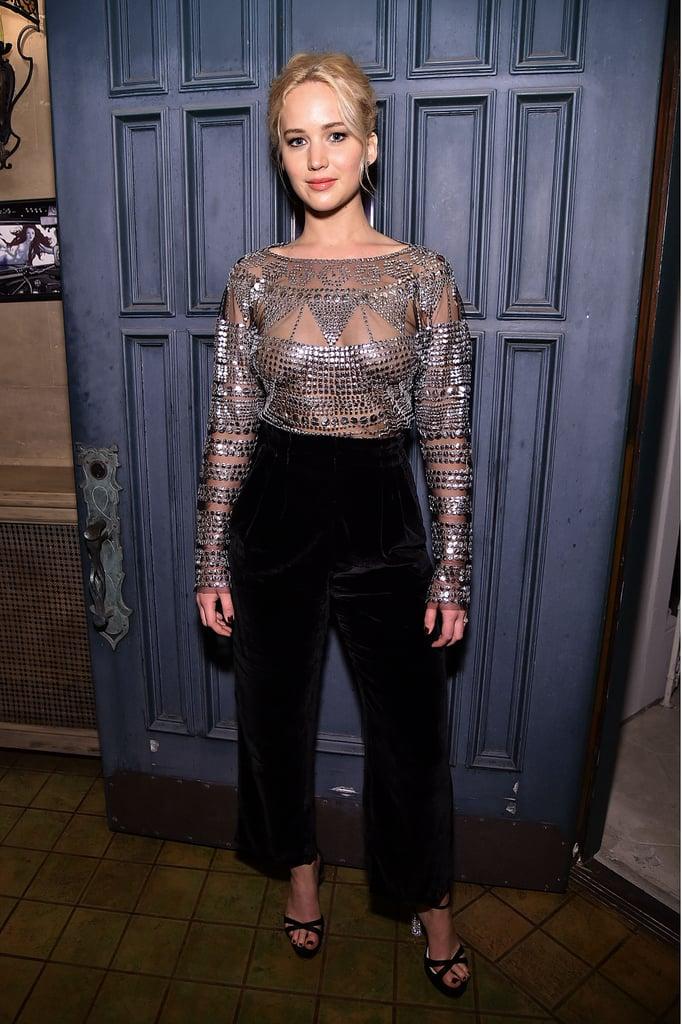 1fca51bab2ad Jennifer Lawrence Wearing Sheer Silver Top