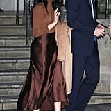 A Tonal Brown Look with A Fitted Jumper and Silk Midi-Skirt in London in Jan 2020
