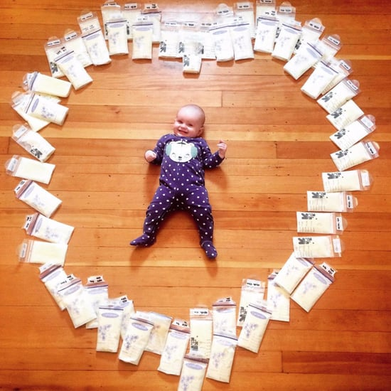 Photo of Baby Surrounded by Donated Breast Milk