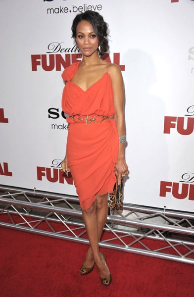 Zoe Saldana in orange Lanvin at the Death at a Funeral premiere in LA.