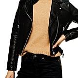 Topshop Kota Crop Faux Leather Moto Jacket
