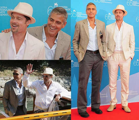 Photos of Brad Pitt and George Clooney at the Burn After Reading Photocall at Venice Film Festival