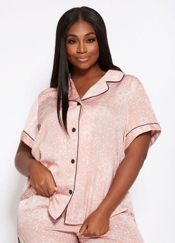 Ashley Stewart Satin Pajama Top