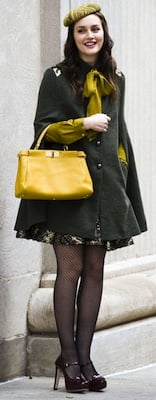 Designer of Blair Waldorf's Green Coat, Print Skirt, Yellow Bag, and Burgundy Shoes on Gossip Girl