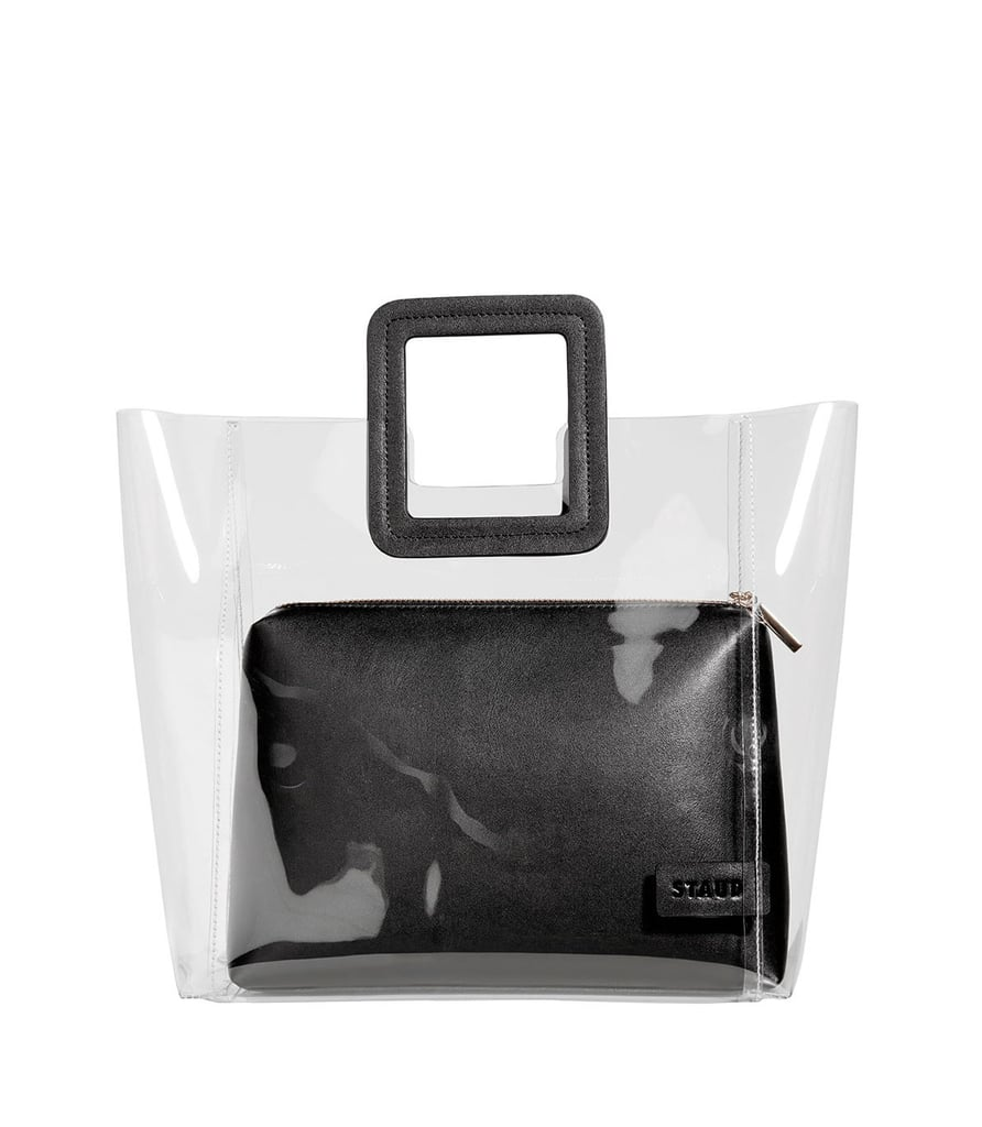 6827276424 Staud Shirley Clear PVC and Leather Tote Bag