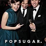 Eddie Redmayne celebrated his big best actor win with Felicity Jones and James Marsh.