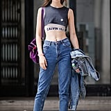 Style a Sports Bra With a Crop Top and High-Waisted Jeans