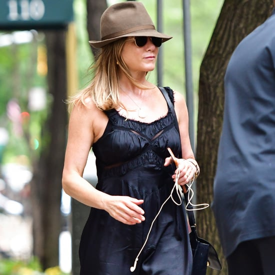 Jennifer Aniston Black Burberry Wedges in New York June 2016