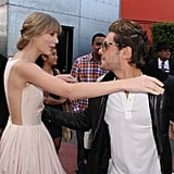 Taylor Swift and Zac Efron shared a hug on the carpet.