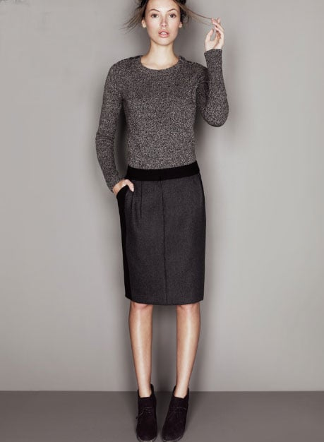 Double-Serge Stripe Pencil Skirt, ($128)