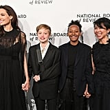 Angelina Jolie, Shiloh, and Zahara Jolie-Pitt attending the National Board of Review Awards Gala