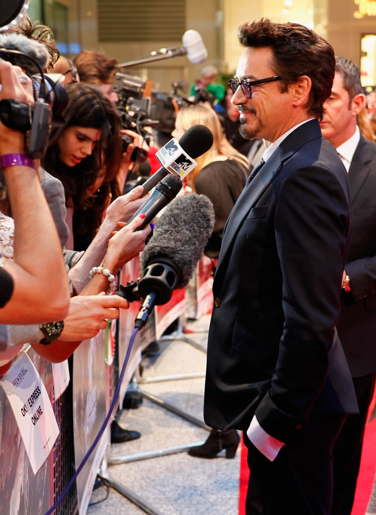 Robert Downey Jr. hung out with fans at the premiere of The Avengers in London.
