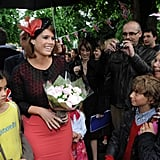 Princess Eugenie greeted folks during the Big Jubilee Lunch.