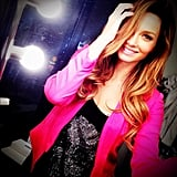 Ricki-Lee Coulter modelled a new hot pink blazer. Source: Instagram user therickilee