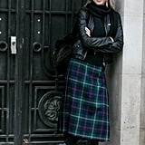 The anti-prep-school girl in calf-length plaid.