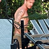 David Beckham was shirtless in Beverly Hills.