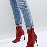 Shop Red Snakeskin Boots Like Emily's