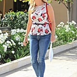 Reese adds a feminine touch to her florals by choosing a peplum silhouette.