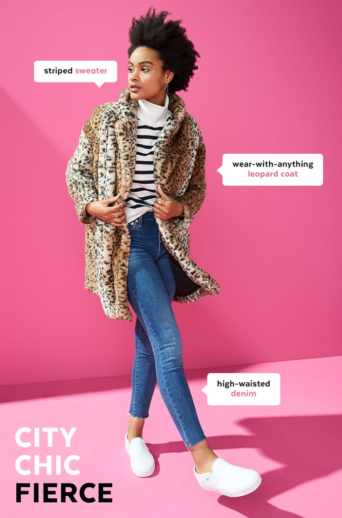 """Jeans, a sweater, and a coat may be a generic Fall outfit formula, but that's actually why I love it so much. It gives you plenty of room to put your own individual spin on it, whether that means exploring trends or experimenting with textures and colors. For me, that translates to incorporating one standout trend, like leopard print, and one visual statement, like pattern mixing.  You could literally wear and rewear this formula every single day and take a different approach each time — no one would ever notice it's the same combo! If today is all about pattern mixing with the striped sweater and leopard coat, tomorrow could be all about monochromatic dressing with a puff-sleeve sweater and a cropped puffer coat in the same hue as the sweater."" — Stephanie Nguyen, style editor"