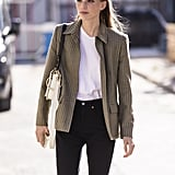 This combo of jacket, t-shirt, and skinny jean is proof that great basics feel anything but boring.