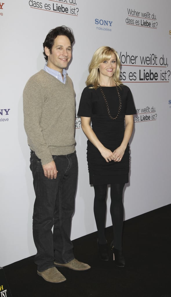 After bundling up warm as she touched down yesterday, Reese Witherspoon went for a cute and casual look alongside Paul Rudd at their How Do You Know photocall in Germany today. The costars are without new dad Owen Wilson as they promote in Europe, but the trio were together for the LA premiere last month. During the press conference in NYC, Reese revealed how attached she got to Paul and Owen during filming. The movie is one of several great releases out this month, and both BuzzSugar and I recommend it. Reese has been switching gears between her different projects, as she spent the weekend filming Water For Elephant reshoots with Robert Pattinson in California.