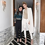 At the party, Gigi posed with Monica Rose, who wore a Self-Portrait jumpsuit.