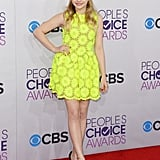 Chloe Moretz went bright in a neon look.