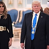 Melania Trump Wore a Stella McCartney Jumpsuit and a Wide Gold Belt During Her Visit to Saudi Arabia