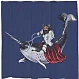 Narwhal and Kitty Shower Curtain