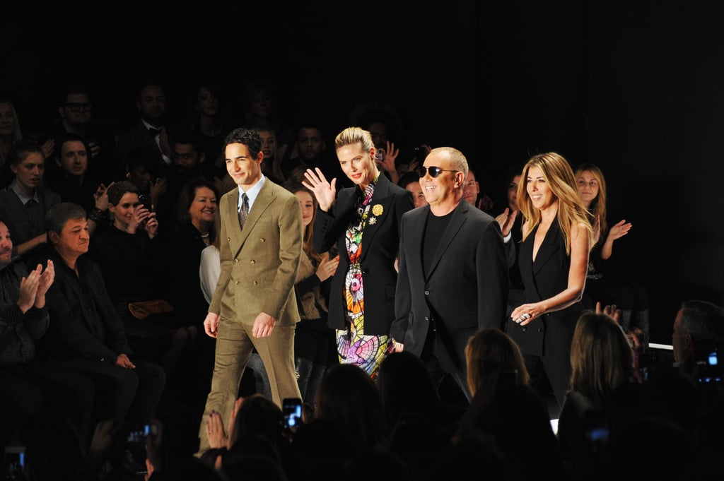 Heidi Klum, Michael Kors, Nina Garcia, and Zac Posen took their seats at the Project Runway fashion show in NYC in February.