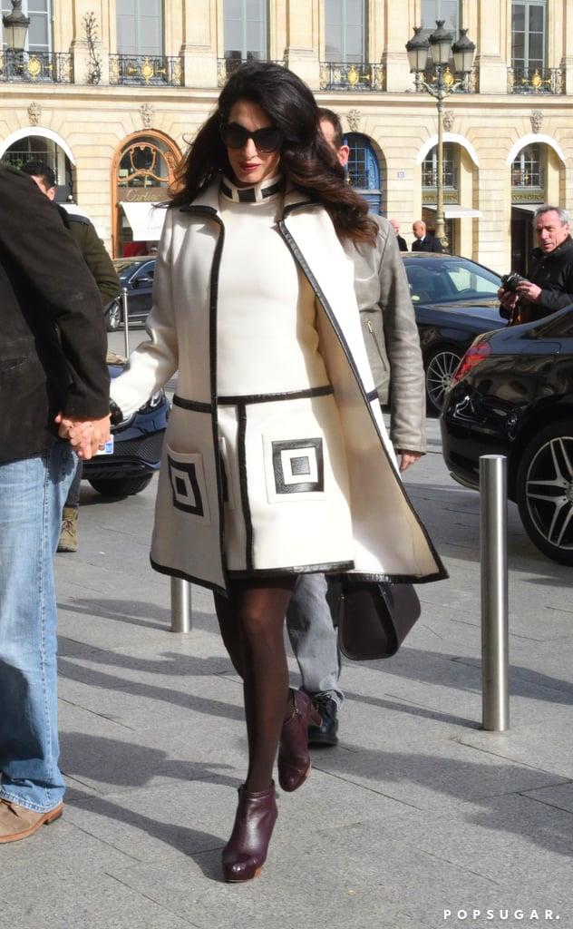 Amal Clooney William Vintage Suit in Paris Feb. 2017