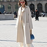 A Cream Coat and White Maxi Dress