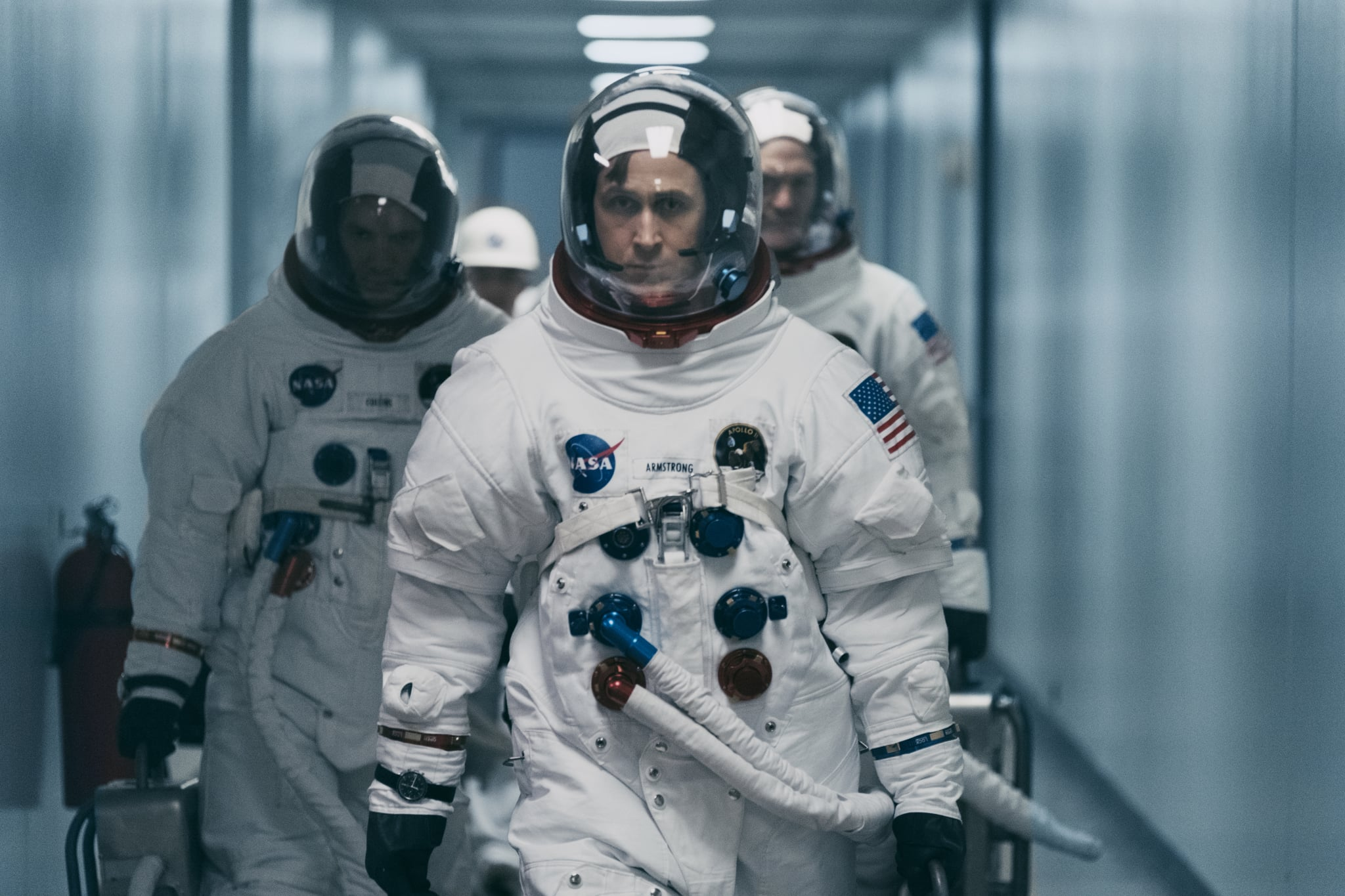 (L to R) LUKAS HAAS as Mike Collins, RYAN GOSLING as Neil Armstrong and COREY STOLL as Buzz Aldrin in
