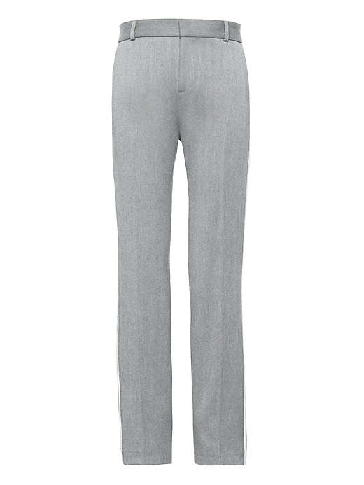 Avery Straight-Fit Herringbone Side-Stripe Ankle Pant