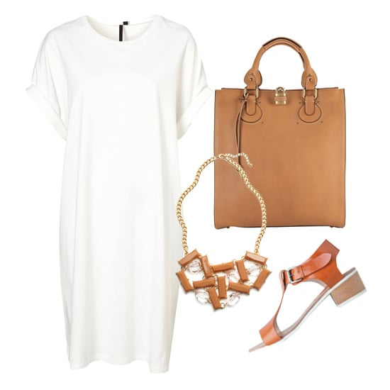 If you'd rather try the trend in small doses, just amp up a simple white t-shirt dress with a few caramel-colored accessories, like a leather tote or Spring-ready sandals — plus, you can't go wrong with a necklace that literally looks like candy.  Topshop Slouchy Tee Dress ($80), Chloé Aurore Leather Tote ($1,795), ModCloth Sweet Sentiment Necklace ($35), A Détacher Highsmith Sandal ($419)