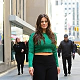 Ashley Graham Green Crop Top and Track Pants
