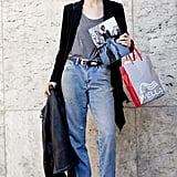 Boyfriend denim and wedged Chelsea boots give this a '90s touch.