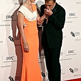 Emily Blunt and Christoph Waltz shared an adorable moment on the red carpet at Tuesday's IWC Gala in London.